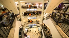 High Angle Escalator Timelapse Inside Suria KLCC Mall in KL, Malaysia Stock Footage