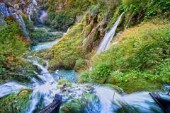 Autumn Valley Waterfalls - stock photo