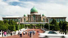 Timelapse of Visitors In Front of Perdana Putra in Putrajaya, Malaysia Stock Footage