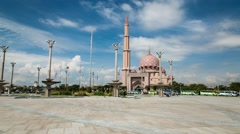 Motion Timelapse of Putra Mosque in Putrajaya, Malaysia Stock Footage