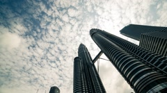 Timelapse of Cloud Over Petronas Twin Tower in KLCC, Malaysia Stock Footage