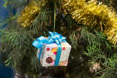 Christmas Decor on Gift Box, ribbons and fir tree Kuvituskuvat