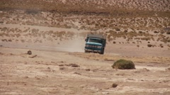 Truck on the Salt flat Salar de Uyuni in Bolivia Stock Footage