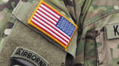 Patch on the sleeve of the American paratrooper 2 Stock Footage