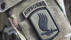 Patch on the sleeve of the American paratrooper Stock Footage