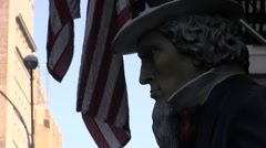 Uncle Sam with American flag Stock Footage