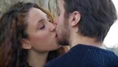 Couple in love kissing: couple falling in love, tenderness Arkistovideo