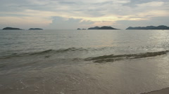 Camera tilt up,Sea waves beach. Stock Footage