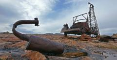 Abandoned Oil Drilling Old Truck in Badlands Tracking Left Low Stock Footage