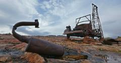 Abandoned Oil Drilling Old Truck in Badlands Tracking Left Variation Stock Footage