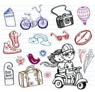 Journey, set of funky doodles Stock Illustration