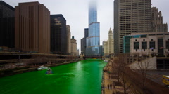 Chicago River dyed green during Saint Patrick's Day in Chicago (IL) Stock Footage