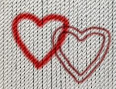 hearts on cotton twine - stock photo