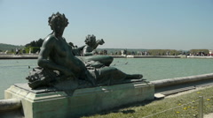 Fountain and sculpture at Versailles. France Stock Footage