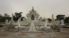 Slow Motion of White Temple Front. Stock Footage