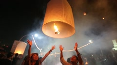 Lantern Being Released at Lantern Festival. Stock Footage