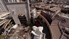 Aerial. Flying over shop The Hollywood Chamber of Commerce LA, California Stock Footage