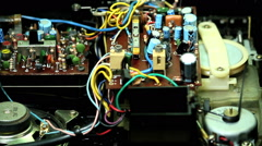 Electronic Scheme Circuit Connection Radio Components Old Technology. Main Board Stock Footage