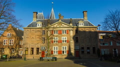 Old majestic building in the town of Leiden, Holland, The Netherlands Stock Footage