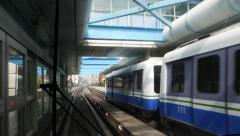 Rear view from moving train, run aside station and stopped train - stock footage