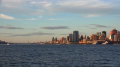 View of the Upper Manhattan from Hoboken at sunset. Stock Footage