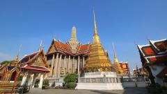 Wat Phra Kaew Famous Temple Of the Emerald Buddha Bangkok, Thailand (2 pan shot) - stock footage