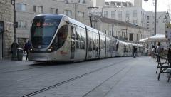 Jerusalem trams, Jaffa street, Israel Stock Footage
