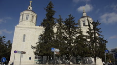 Holy Trinity Cathedral long shot Jerusalem Israel Stock Footage