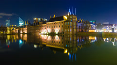 The Binnenhof, the Dutch seat of Parliament in The Hague, at night - stock footage