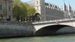 Napoleon bridge over the river Seine. Paris, France Stock Footage