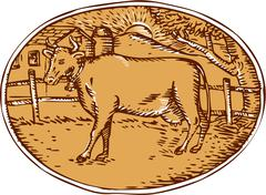 Cow Ranch Farm House Oval Woodcut Piirros