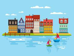 Harbor Waterfront with Boats on River - stock illustration