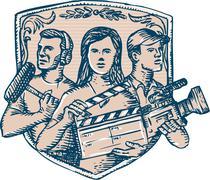 Film Crew Clapperboard Cameraman Soundman Etching Stock Illustration