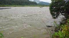 The Pastaza River in the Ecuadorian Amazon looking west towards the Andes.  - stock footage