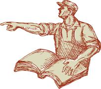 Activist Union Worker Pointing Book Drawing Stock Illustration