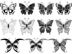 Set of eleven ornamental butterflies Stock Illustration