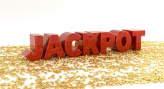 Jackpot - Red text on gold stars - High quality 3D Render - stock illustration