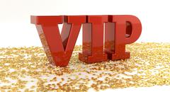 VIP - Red text on gold stars - High quality 3D Render Stock Illustration