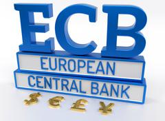ECB European Central Bank - 3D Render Stock Illustration