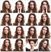 Collage of woman different emotions Stock Photos