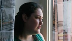 Sad fat young woman in crisis moment Stock Footage