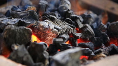 Burning charcoal footage - stock footage