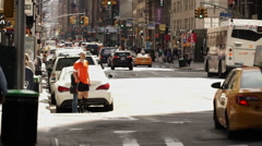 Lot of yellow taxi cabs in Manhattan Stock Footage