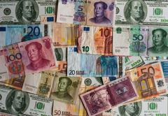 Foreign currency background Stock Photos