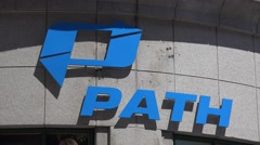 Sign of the 'PATH' rapid transit railroad in Jersey City - stock footage