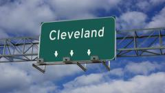 4K Animated highway road sign of Cleveland Stock Footage