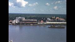 Vintage 16mm film, 1962, Saigon, ship and river, 2-shot Stock Footage
