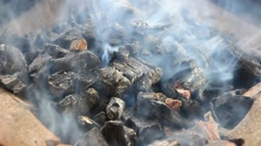 Burning charcoal footage Stock Footage
