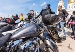 The traditional annual May Day gathering of bikers in Samara, Russia - stock photo