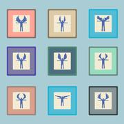 Angels  silhouette icon set.  Different wing styles.  Editable and design Stock Illustration